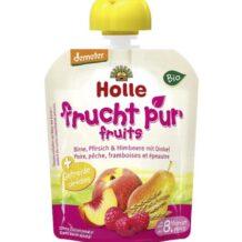 Mus z gruszki, brzoskwini i maliny z orkiszem BIO marki Holle
